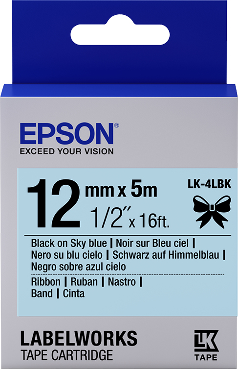 Epson Label Cartridge Satin Ribbon LK-4LBK zwart/lichtblauw 12 mm (5 m)