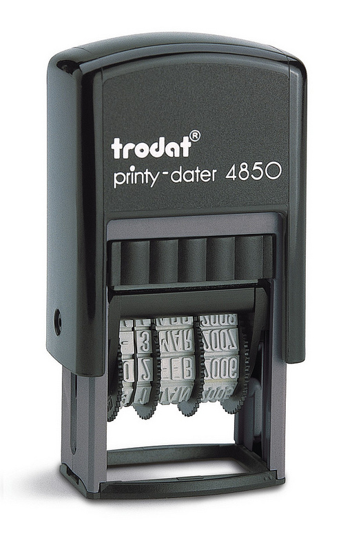Trodat Printy Dater 4850/L2 Compact Stamp PAID=Blue DATE=Red