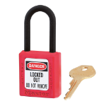 MASTER LOCK Red dielectric Zenex thermoplastic safety padlock, 38mm wide with 38mm tall nylon shackle