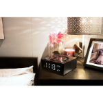 LASER Qi Wireless Charging Alarm Clock with Bluetooth Speaker