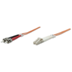 Intellinet Fibre Optic Patch Cable, Duplex, Multimode, LC/ST, 62.5/125 µm, OM1, 5m, LSZH, Orange, Fiber, Lifetime Warranty