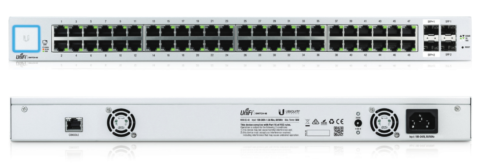 Ubiquiti Networks UniFi US-48 Managed Gigabit Ethernet (10/100/1000) 1U Silver,White network switch