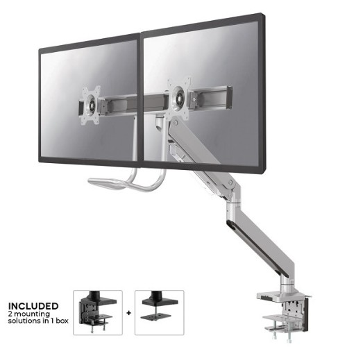 "Newstar NM-D775DXSILVER flat panel desk mount 81.3 cm (32"") Clamp Silver"