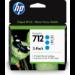 HP 712 Original Cian 3 pieza(s) Rendimiento estándar