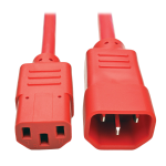 Tripp Lite Standard Computer Power Extension Cord, 10A, 18 AWG (IEC-320-C14 to IEC-320-C13), Red, 0.91 m
