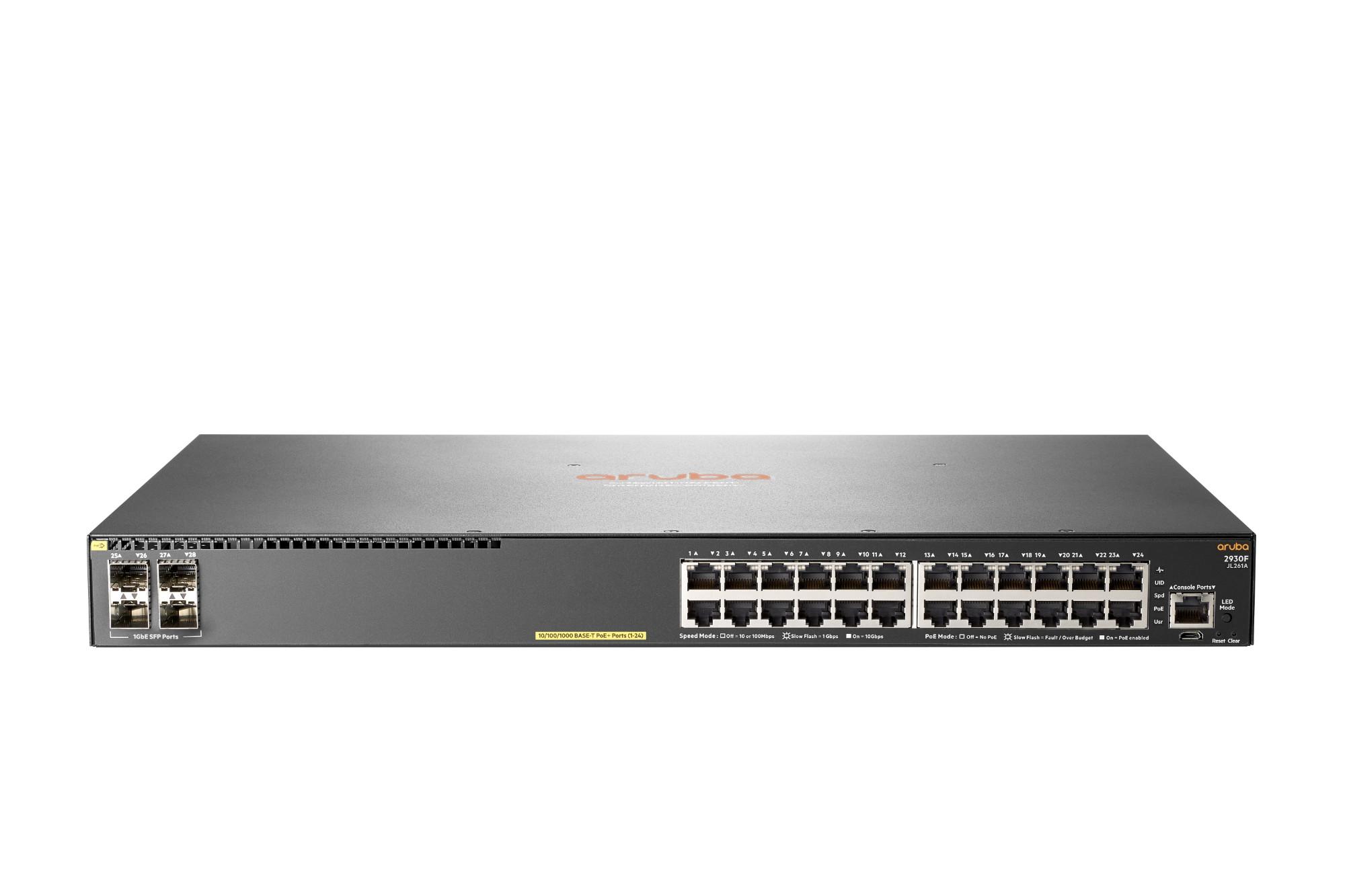 Hewlett Packard Enterprise Aruba 2930F 24G PoE+ 4SFP Managed L3 Gigabit Ethernet (10/100/1000) Grey 1U Power over Ethernet (PoE)