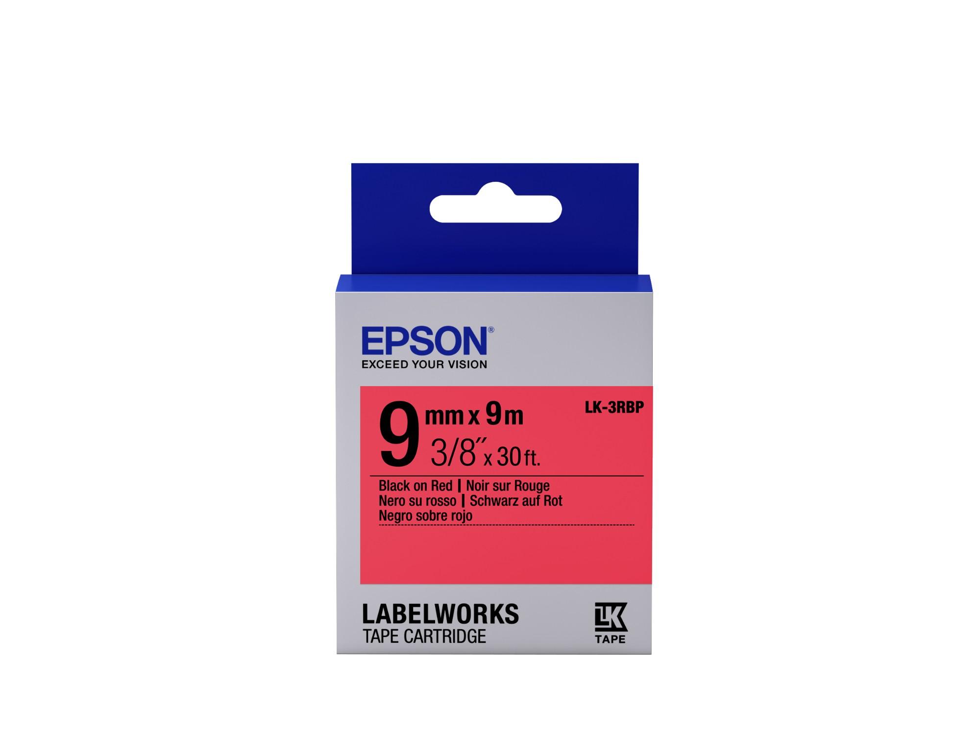 Epson Pastel Tape - LK-3RBP Pastel Blk/Red 9/9