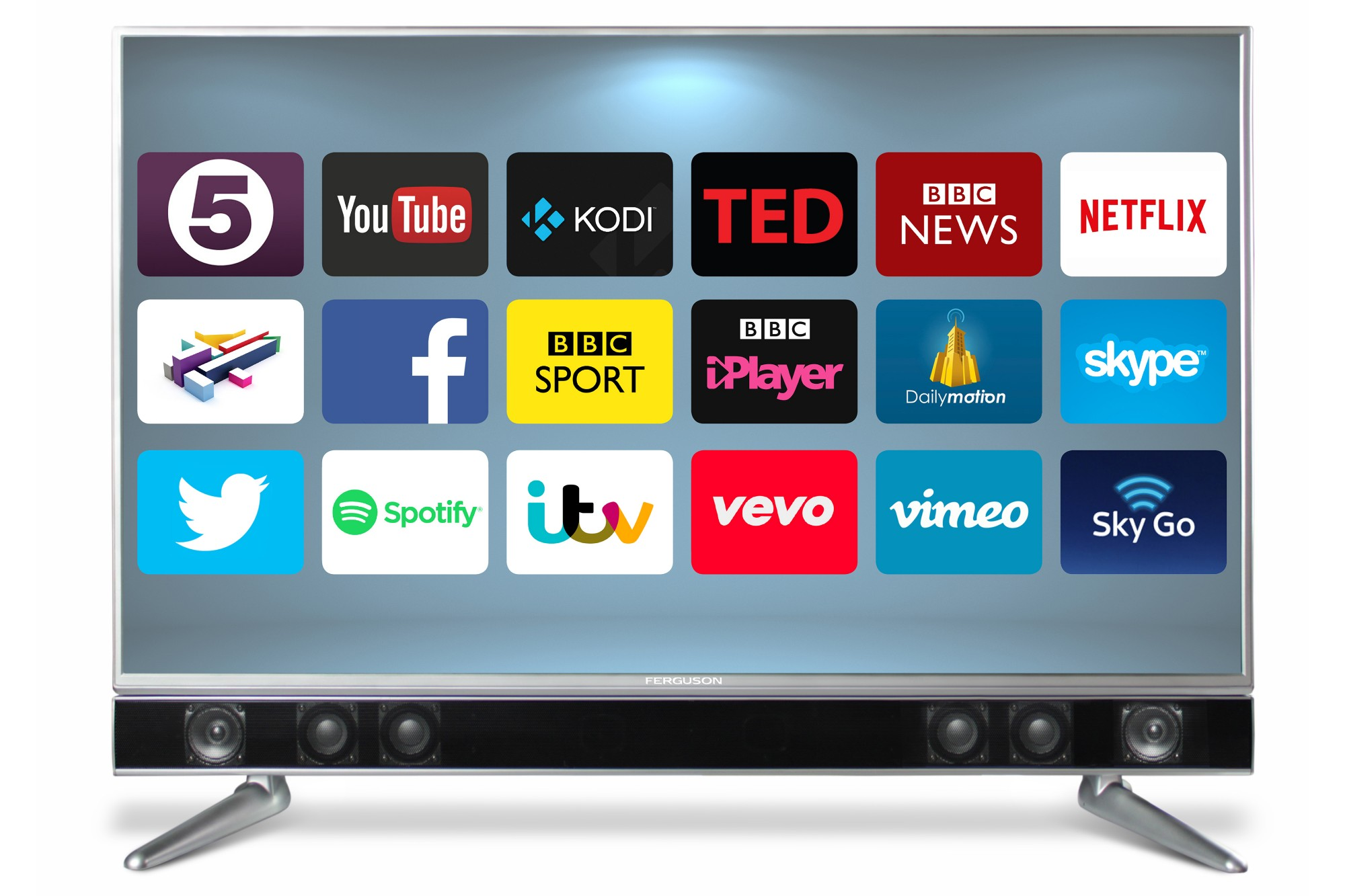 Ferguson FP43ANSMT 43 inch Android Smart TV with Intergrated Sound Bar - Black
