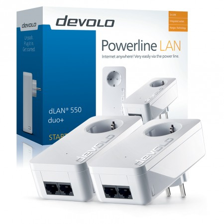 Devolo dLAN 550 duo+ Starter Kit 500Mbit/s Ethernet LAN White 2pc(s) PowerLine network adapter