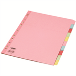 Concord Subject Dividers 160gsm Reinforced 10-Part A4 Assorted Ref 77199/71