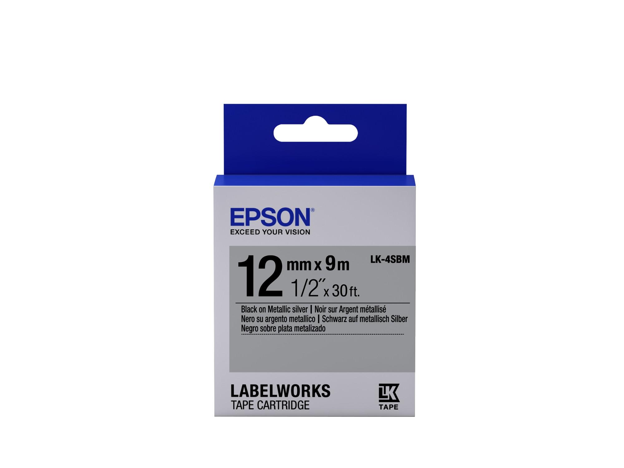 Epson Cinta metálica - LK-4SBM plata/negro metálico 12/9