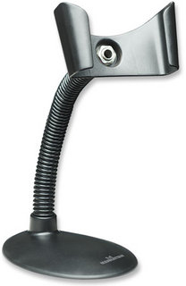 Manhattan Handheld Barcode Scanner Stand, Gooseneck with base, suitable for table mount or wall mountable, Black, Box
