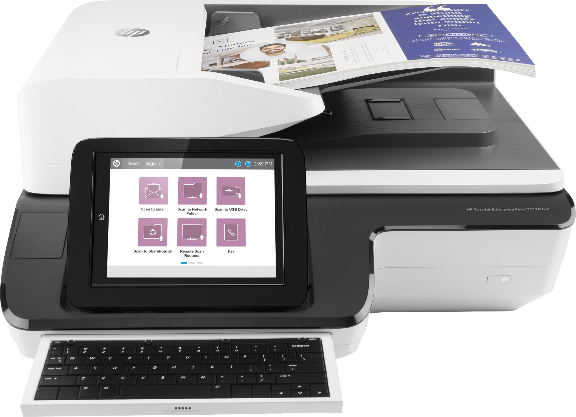 HP Scanjet Enterprise Flow N9120 fn2 600 x 600 DPI Flatbed & ADF scanner Black, White A3