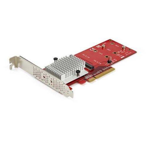 StarTech.com Dual M.2 PCIe SSD Adapter Card - x8 / x16 Dual NVMe or AHCI M.2 SSD to PCI Express 3.0 - M.2 NGFF PCIe (M-Key) Compatible - Supports 2242, 2260, 2280 - RAID & JBOD - Mac & PC