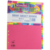 Concord Contrast Subject Dividers Europunched A-Z A4 Assorted Ref 52499