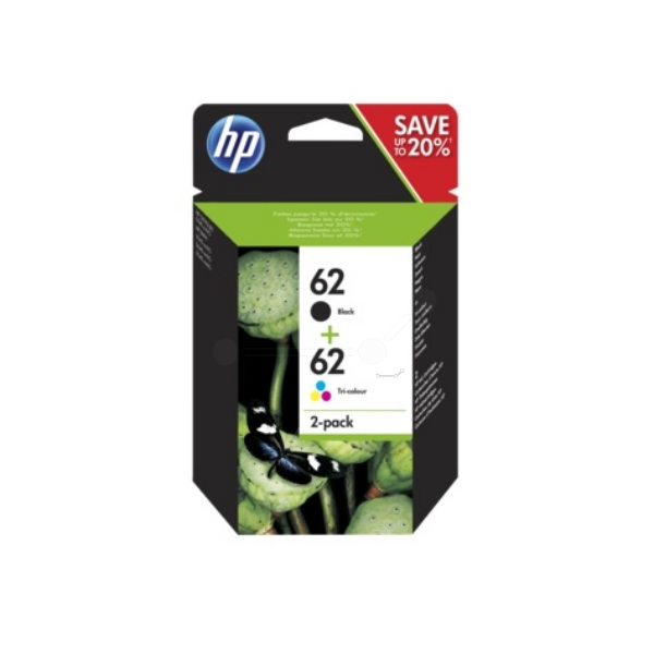 HP N9J71AE (62) Printhead multi pack, 200pg + 165pg, Pack qty 2
