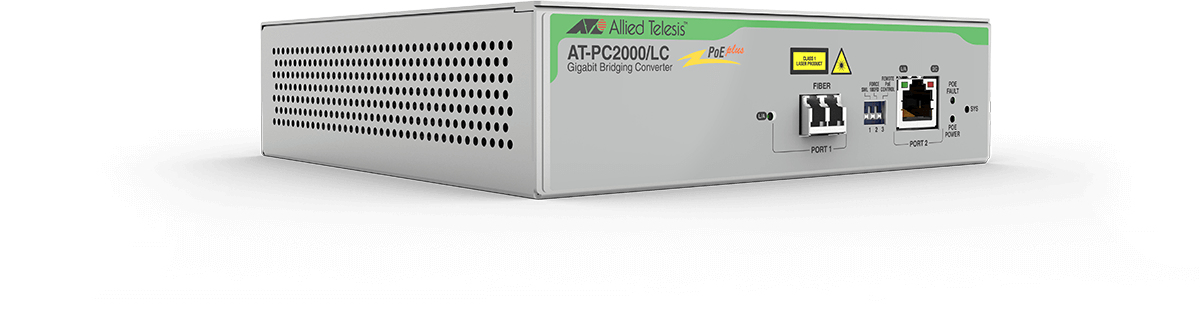 Allied Telesis AT-PC2000/LC-60 convertidor de medio 1000 Mbit/s 850 nm Gris
