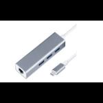 Dynamode C-TC-LAN-HUB interface hub USB 3.0 (3.1 Gen 1) Type-C Silver
