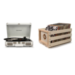 Crosley Cruiser Deluxe Portable Turntable (White Sand) + Free Storage Crate