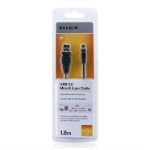 Belkin USB 2.0 A/Mini USB B, 1.8m 1.8m USB A Mini-USB B Male Male Black USB cable