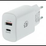Manhattan Wall/Power Charger (Euro 2-pin), USB-C & USB-A ports, USB-C up to 18W / 3A, USB-A up to 5V / 2.4A, White, Three Year Warranty, Box