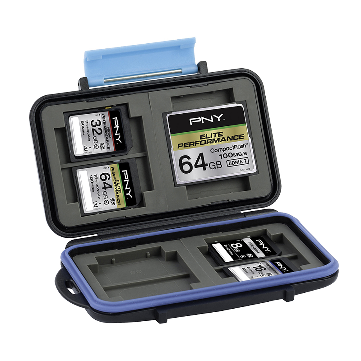 PNY CASECF4SD8-RB memory card case Polycarbonate, Rubber Black, Blue
