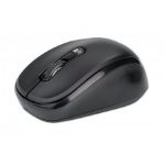 Manhattan Dual-Mode Mouse, Bluetooth 4.0 and 2.4 GHz Wireless, 800/1200/1600 dpi, Three Buttons With Scroll Wheel, Black, Box