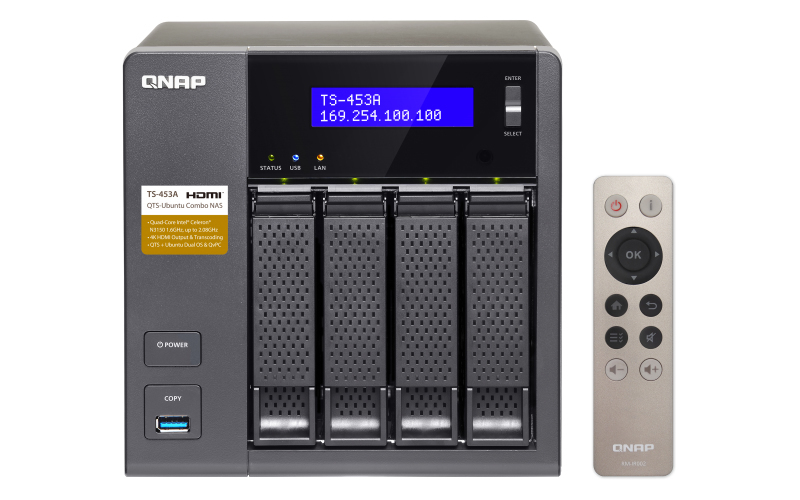 QNAP TS-453A Ethernet LAN Tower Aluminium,Black NAS