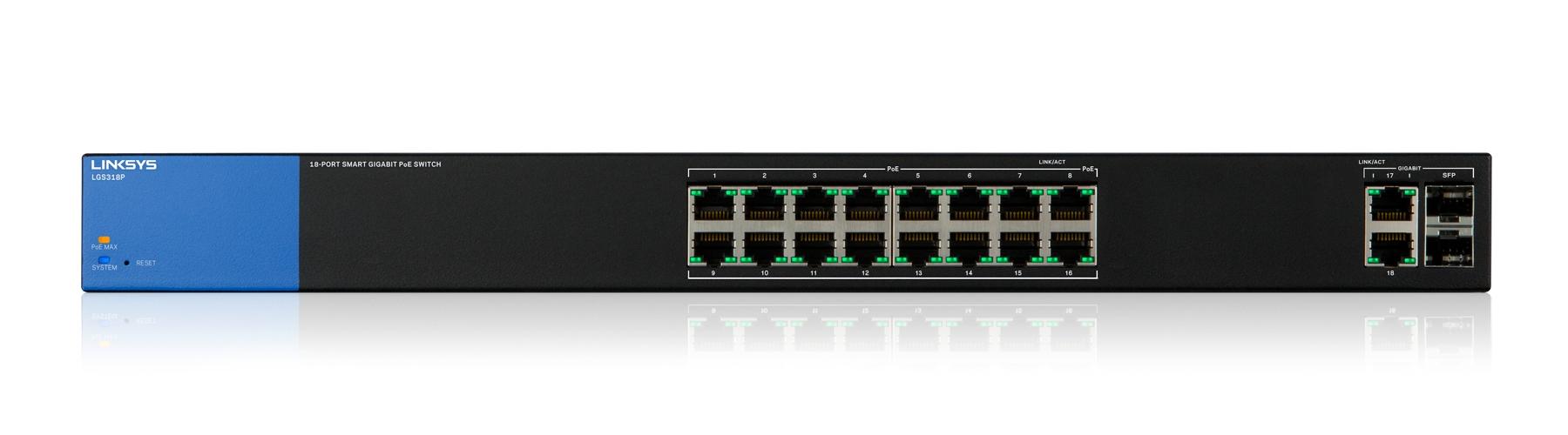 Linksys Smart Switch Gigabit PoE+ de 18 puertos (LGS318P)