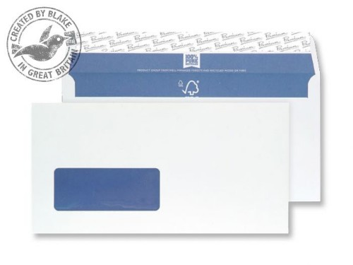 Blake Premium Pure Wallet Window Peel and Seal Super White Wove DL 120gsm (Pack 500)