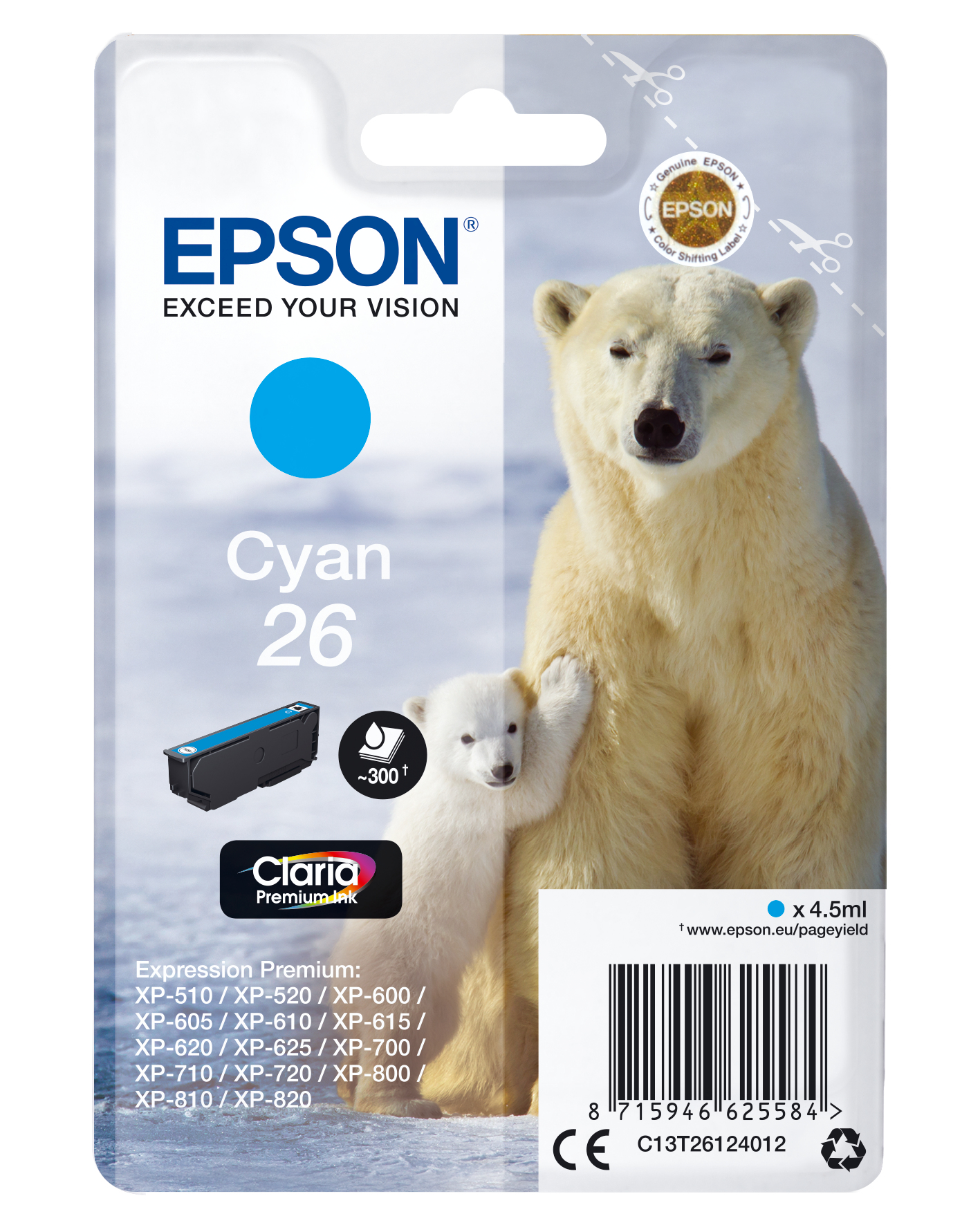 Epson Polar bear Cartucho 26 cian