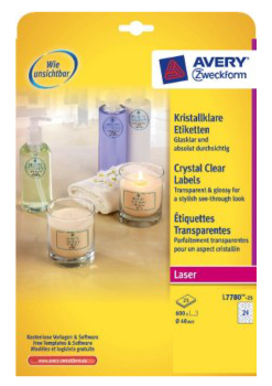 Avery L7780-25 printer label Transparent