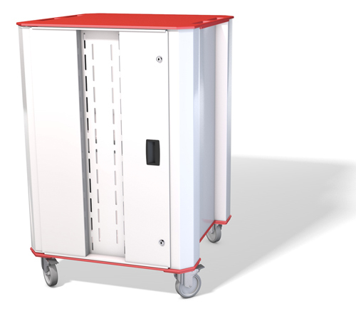 NUWCO PLASCHROME32R portable device management cart/cabinet Red,White