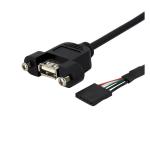StarTech.com Cable de 30cm USB 2.0 para Montaje en Panel Conexión a Placa Base - Hembra USB A