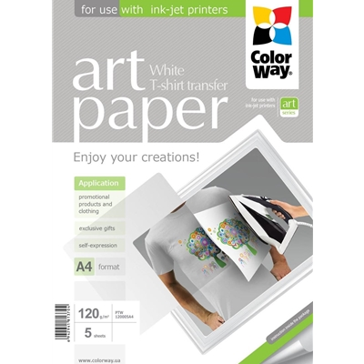 COLORWAY Art T-shirt transfer Paper Light 120g/m A4 5 Sheets