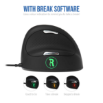 R-Go Tools R-Go HE Break Mouse, Ergonomic mouse, Anti-RSI software, Medium (165-195mm), Right Handed, Wired