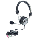 Manhattan Stereo Headset, Easily adjustable with flexible microphone boom, Comfortable padded ear cushions, two 3.5mm plugs, Silver/Black, Silver/Black, Box