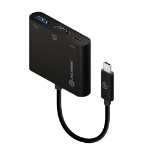 ALOGIC 10cm USB-C MultiPort Adapter with HDMI/USB 3.0/USB-C with Power Delivery (60W) - Black
