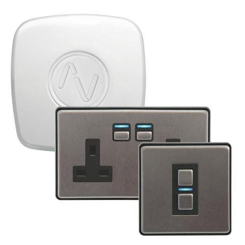 Lightwave L21422 smart lighting Smart socket kit Stainless steel, White