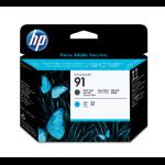 HP Cabezal de impresión 91 negro mate y cian