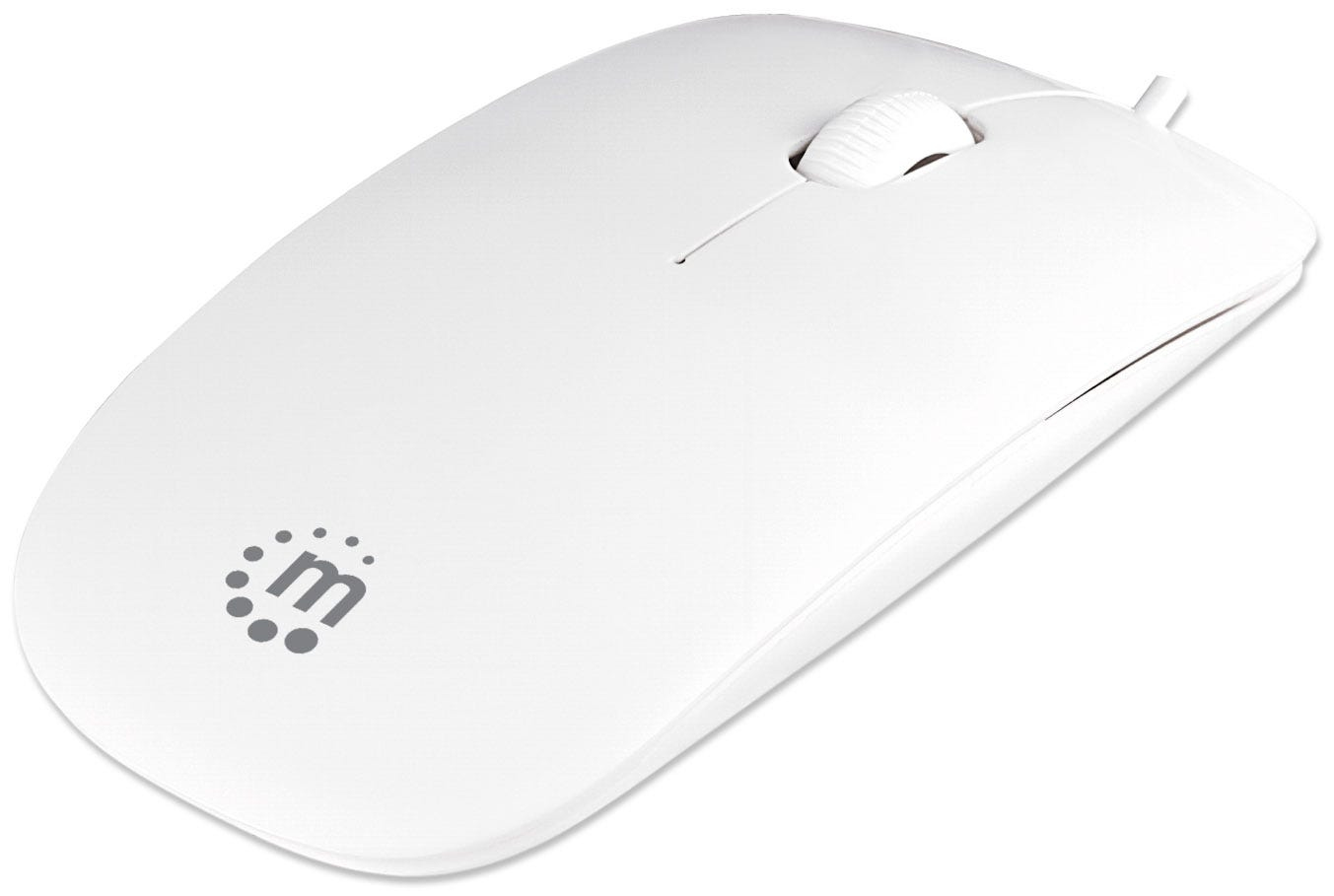 Manhattan Silhouette Sculpted USB Wired Mouse, White, 1000dpi, USB-A, Optical, Lightweight, Flat, Three Button with Scroll Wheel, Blister