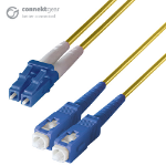 CONNEkT Gear 15m Duplex Fibre Optic Single-Mode Cable OS2 9/125 Micron LC to SC Yellow