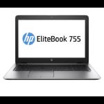 "HP EliteBook 755 G4 Notebook 39.6 cm (15.6"") 1920 x 1080 pixels 7th Generation AMD A12-Series APUs 8 GB DDR4-SDRAM 256 GB SSD Wi-Fi 5 (802.11ac) Windows 10 Pro Silver"