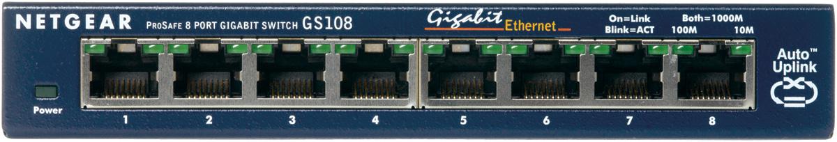 Netgear ProSAFE Unmanaged Switch - GS108GE - Desktop - 8 Gigabit Ethernet poorten 10/100/1000 Mbps