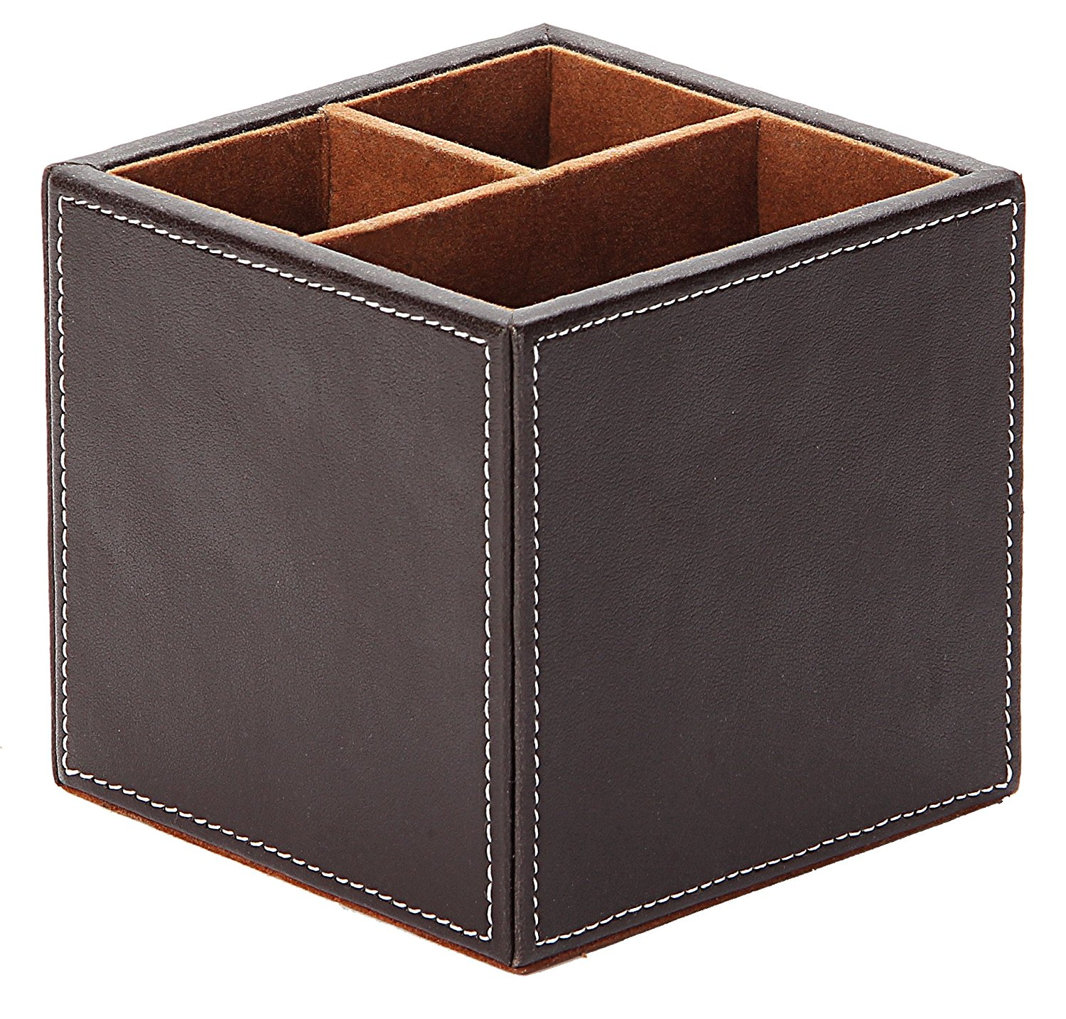Osco Faux Leather Square Pen Pot Brown