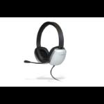 Cyber Acoustics AC-6010 Binaural Head-band Black,White headset