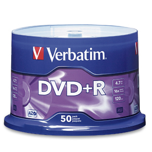 Verbatim 16x DVD+R Media 4.7GB DVD+R 50pc(s)