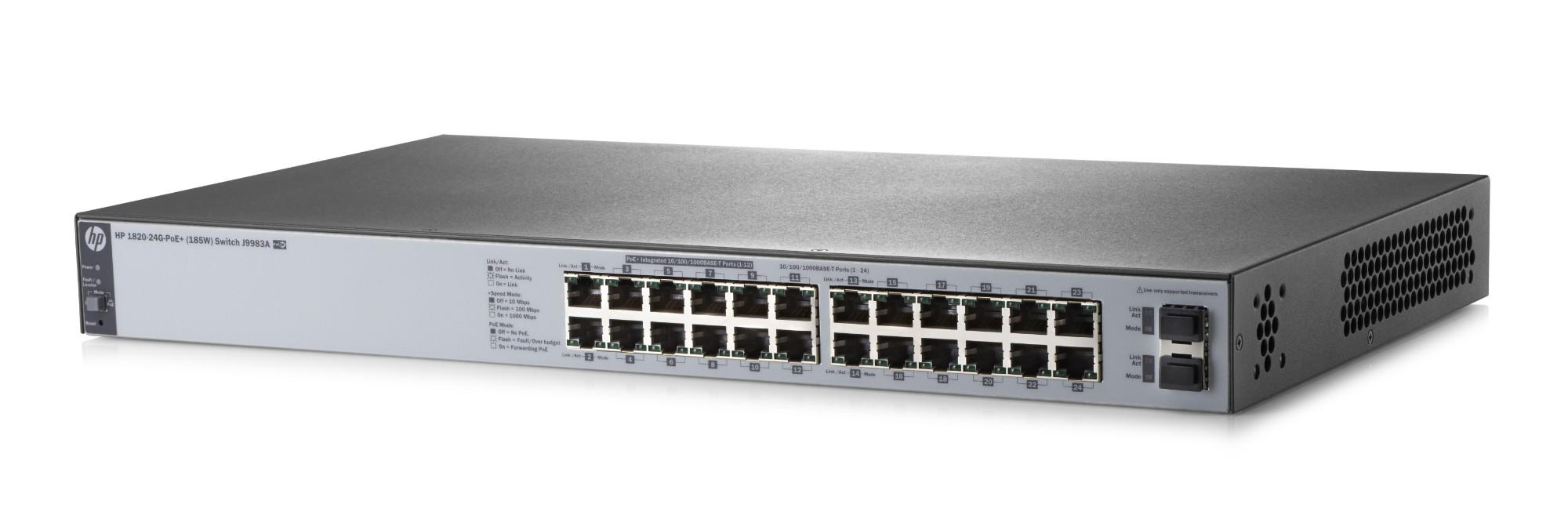 Hewlett Packard Enterprise 1820-24G-PoE+ (185W) Managed L2 Gigabit Ethernet (10/100/1000) Grey 1U Power over Ethernet (PoE)