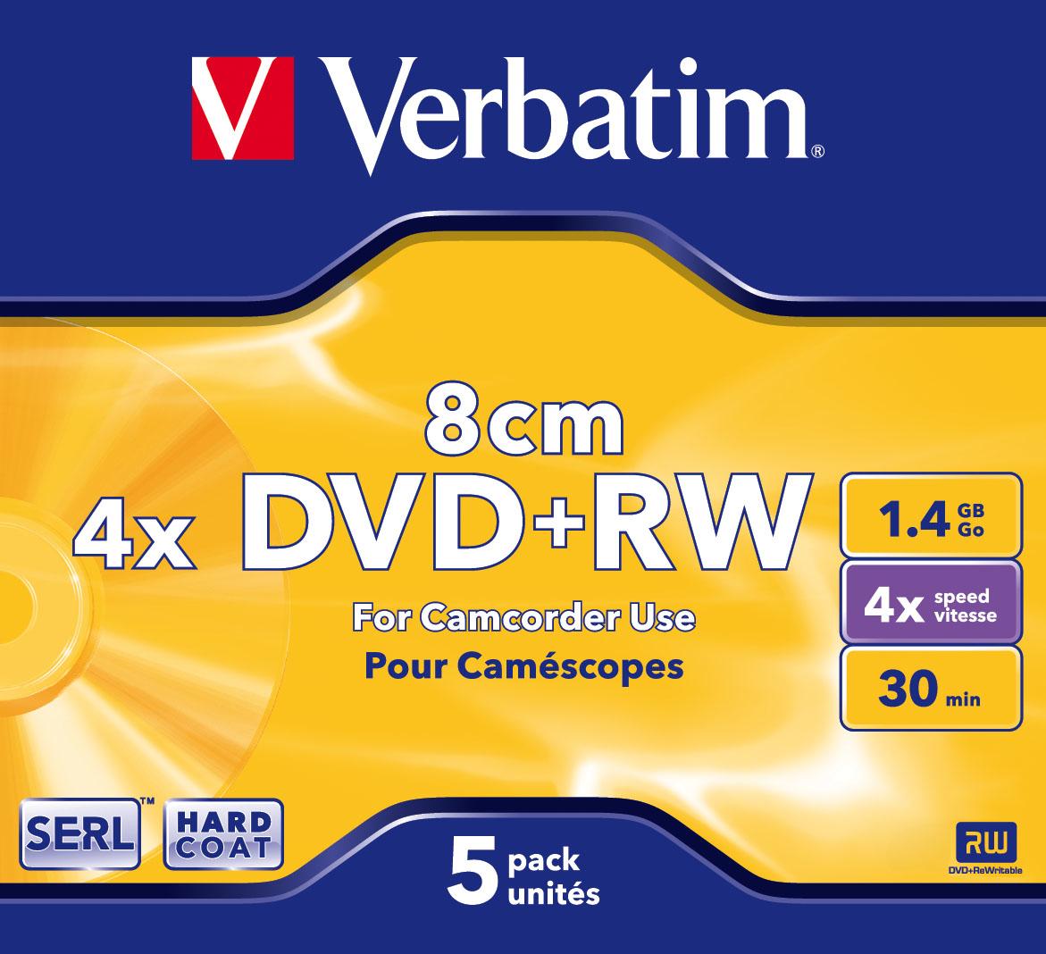 Verbatim DVD+RW 8cm Matt Silver 1.4 GB 5 pc(s)