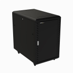 "StarTech.com 18U 19"" Server Rack Cabinet - 4 Post Adjustable Depth (6-32"") Locking Knock Down Network/Computer Equipment Enclosure - Mobile w/Glass Door & Casters - HP ProLiant ThinkServer"